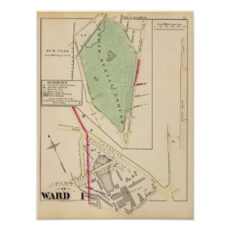 N Burial Ground and Woonsocket Company Atlas Map Poster