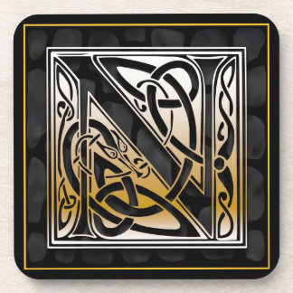 'N' Celtic Black Stone Monogram Coasters