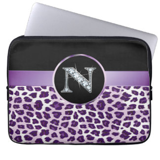"N ""Diamond"" Purple Leopard & Ribbon Electronics Laptop Sleeve"