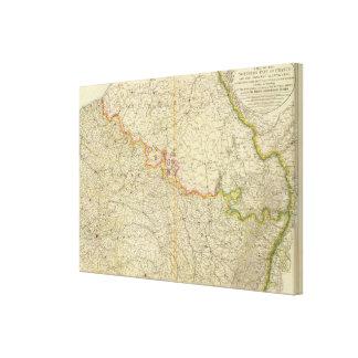 N France Atlas Map Canvas Print