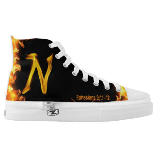 """""""N"""" High Top Shoes Printed Shoes"""