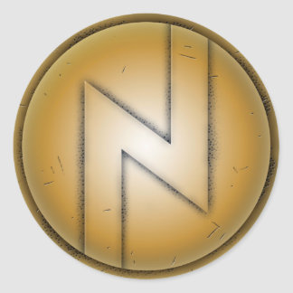 N initial letter round sticker