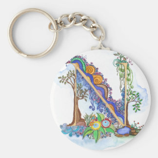 N, initial, monogram, wedding key ring