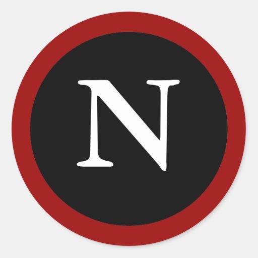 N : Initial N Letter N Red, White & Black Sticker