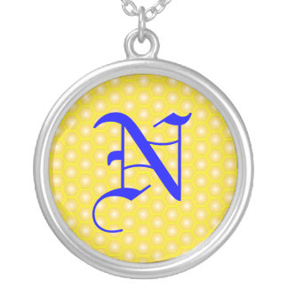 N LETTER ON HONEYCOMB ROUND PENDANT NECKLACE
