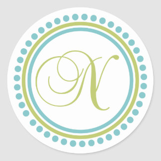 N Monogram (Chartreuse / Teal Dot Circle) Stickers