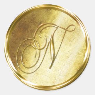 N Monogram Faux Gold Envelope Seal Stickers