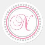 N Monogram (Pink / Silver Dot Circle) Sticker