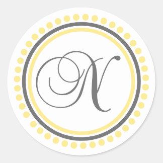 N Monogram (Yellow / Gray Dot Circle) Classic Round Sticker