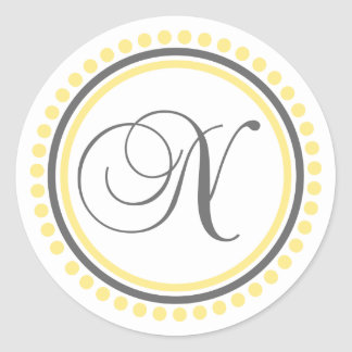 N Monogram (Yellow / Gray Dot Circle) Round Sticker