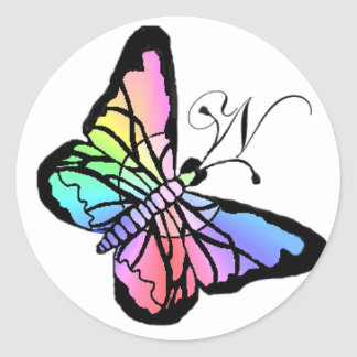 N~My Spring Butterfly initial Round Sticker