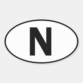 N Oval Identity Sign Oval Sticker