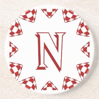 N red white check monogram on white drink coaster
