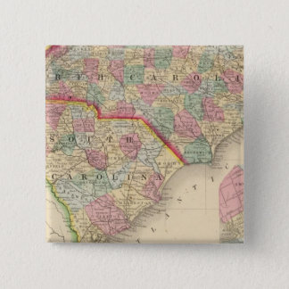 N & S Carolina Map by Mitchell 15 Cm Square Badge