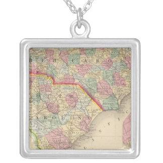 N & S Carolina Map by Mitchell Silver Plated Necklace