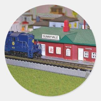 N Scale Model Train Village Classic Round Sticker