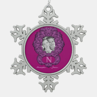 N - The Falck Alphabet (Pink) (Wedding) Pewter Snowflake Decoration