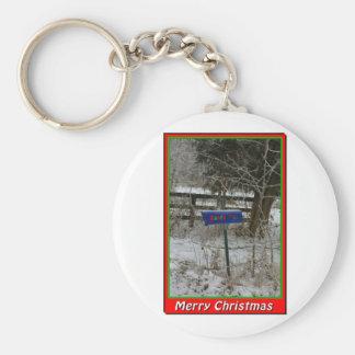 NA136.Merry Christmas.5x7. Basic Round Button Key Ring