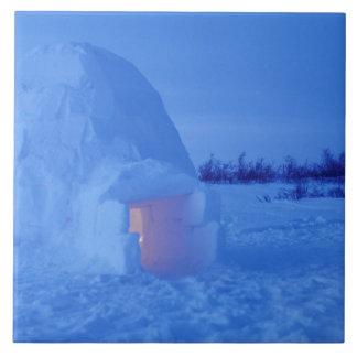 NA, Canada, Manitoba, Churchill. Arctic igloo Large Square Tile