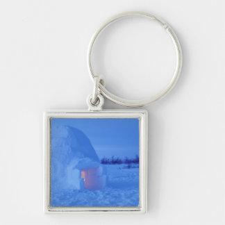 NA, Canada, Manitoba, Churchill. Arctic igloo Silver-Colored Square Key Ring