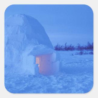 NA, Canada, Manitoba, Churchill. Arctic igloo Square Sticker