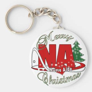 NA CHRISTMAS NURSE AIDE BASIC ROUND BUTTON KEY RING