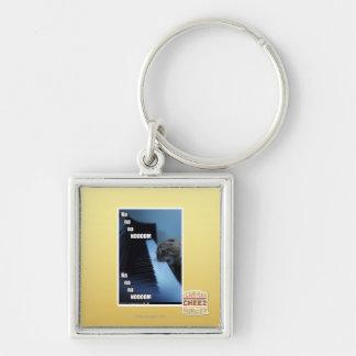 Na na na nooom Silver-Colored square key ring