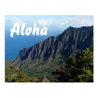 Na Pali Coast Aloha text postcard