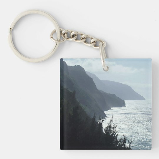 Na Pali Coast Double-Sided Square Acrylic Key Ring