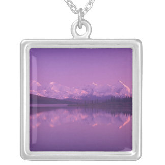 NA, USA, Alaska, Denali NP, Wonder Lake, Evening Silver Plated Necklace