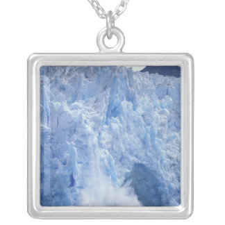 NA, USA, Alaska. Glacier crumbling into water Silver Plated Necklace
