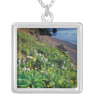 NA, USA, Alaska, Semidi Islands, Wildflowers Square Pendant Necklace