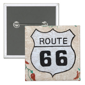NA, USA, Arizona, Holbrook Route 66 street sign Button