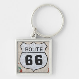 NA, USA, Arizona, Holbrook Route 66 street sign Silver-Colored Square Key Ring