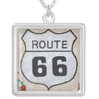 NA, USA, Arizona, Holbrook Route 66 street sign Silver Plated Necklace