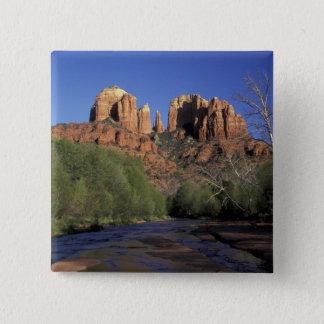 NA, USA, Arizona, Sedona. Cathedral Rock and Oak 15 Cm Square Badge