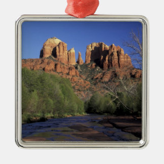 NA, USA, Arizona, Sedona. Cathedral Rock and Oak Christmas Ornament