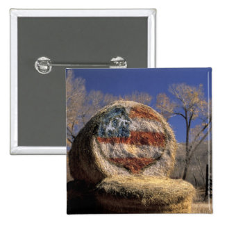 NA, USA, Colorado, Gunnison. Patriotic hay roll 15 Cm Square Badge