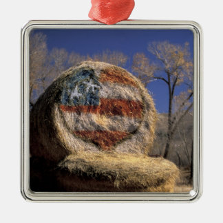 NA, USA, Colorado, Gunnison. Patriotic hay roll Silver-Colored Square Decoration