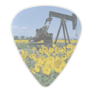 Na, USA, Colorado, Sunflowers, Oil Derrick Acetal Guitar Pick