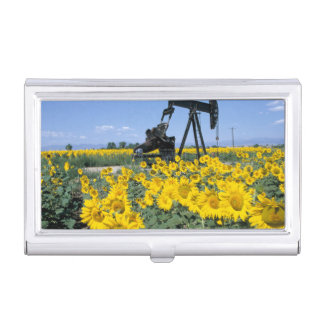 Na, USA, Colorado, Sunflowers, Oil Derrick Business Card Holder