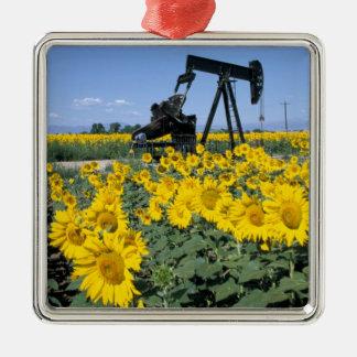 Na, USA, Colorado, Sunflowers, Oil Derrick Christmas Ornament