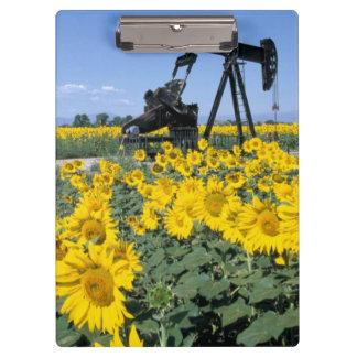 Na, USA, Colorado, Sunflowers, Oil Derrick Clipboard