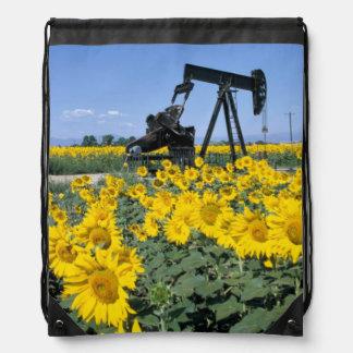 Na, USA, Colorado, Sunflowers, Oil Derrick Drawstring Bag