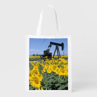 Na, USA, Colorado, Sunflowers, Oil Derrick Reusable Grocery Bag