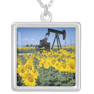 Na, USA, Colorado, Sunflowers, Oil Derrick Silver Plated Necklace