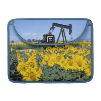 Na, USA, Colorado, Sunflowers, Oil Derrick Sleeve For MacBooks