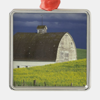 NA, USA, Idaho, south of Genesse, Canola field Silver-Colored Square Decoration