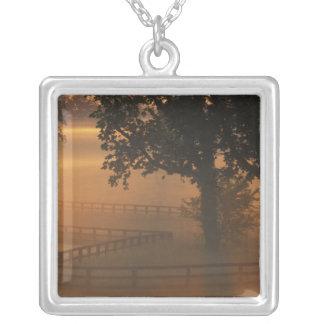 NA, USA, Kentucky. Foggy sunrise on Kentucky Silver Plated Necklace