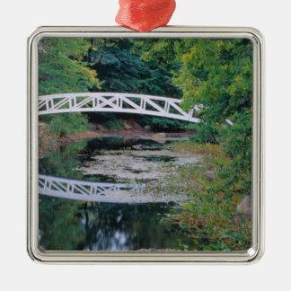 NA, USA, Maine.  Bridge over pond in Somesville. Silver-Colored Square Decoration